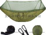 厂家直销户外吊床露营带蚊帐超轻尼龙双人军绿色野营吊床