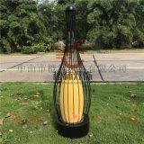 現代簡約鳥籠燈防水草坪燈仿雲石柱頭燈售樓部立柱燈