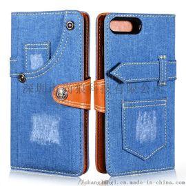 华为三星苹果新款创意牛仔纹手机皮套厂家翻盖手机套