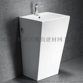 广东潮州陶瓷立柱盆洗手盆连体柱盆贴牌厂家直销