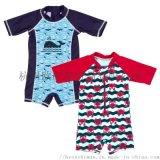 儿童连体短袖卡通造型男童泳衣、儿童泳装