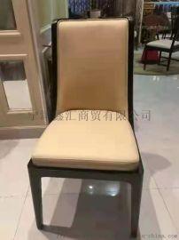 意式轻奢餐椅家用简约现代马鞍皮餐厅靠背椅