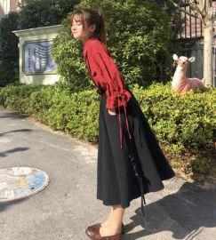 秋季套装女时尚两件套2020新款宽松荷叶袖衬衫+甜美复古背带裙