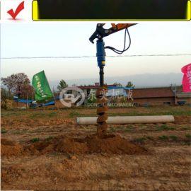 小型挖掘机螺旋钻机 旋转动力头 钻树坑好帮手