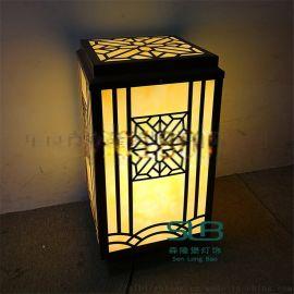中式庭院柱头灯暖黄光仿云石灯罩立柱灯矮柱灯