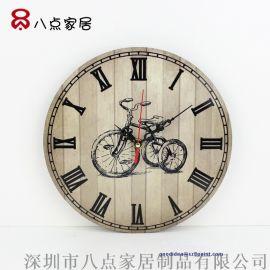 复古木钟热转印钟面圆形罗马数字挂钟墙面装饰钟