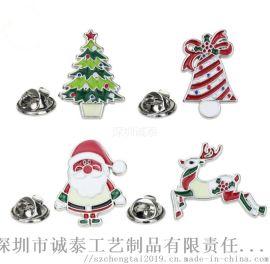 圣诞小饰品定制五金小徽章圣诞老人徽章生产