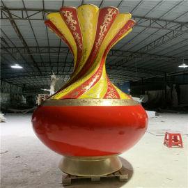 大型景观雕塑 玻璃钢彩绘花瓶雕塑模型商业街摆件