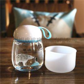 可爱水杯便携玻璃杯迷你北极熊企鹅卡通随手杯小清新杯