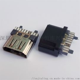 HDMI 19P焊线母座带护套线夹高清插座