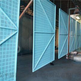 高层新式防护网 代替密目网的蓝色镀锌板爬架网