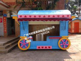 广州厂家 促销零售花车户外售卖车木制售货亭
