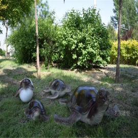 玻璃钢长寿龟雕塑 仿真动物雕塑摆件 公园绿地小品