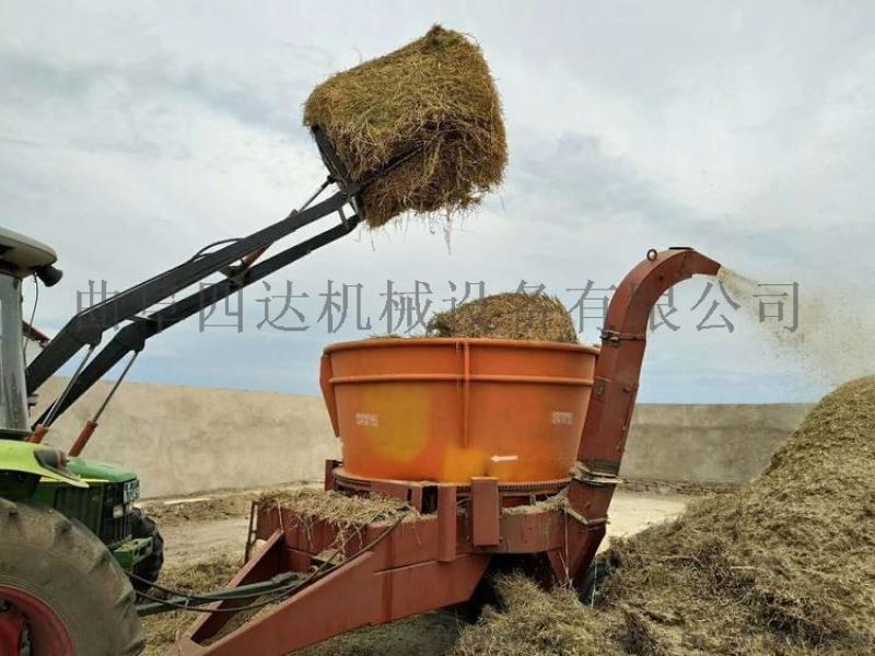大圆草捆转盘粉碎 饲料秸秆粉碎机 旋转式草捆粉碎机