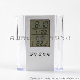 電子萬年歷筆筒鍾,帶溫度透明筆筒鍾,