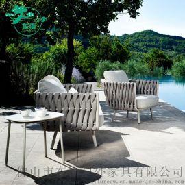 绳编藤沙发组合藤艺椅客厅阳台花园户外桌椅藤编家具单