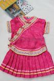 夏季丝绸镶色唐装儿童改良百褶裙