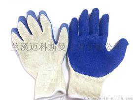 本白蓝皱胶手套 丁腈手套