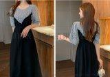 格子拼接假两件连衣裙女轻熟风韩版泡泡袖显瘦气质中长款裙