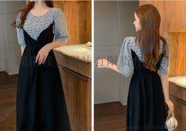 格子拼接假两件連衣裙女轻熟风韩版泡泡袖显瘦气质中长款裙