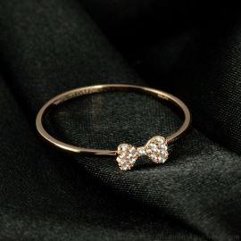 品艺珠宝蝴蝶结锆石18K玫瑰金白锆戒指