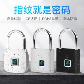 智能指纹挂锁防盗防水柜子USB电子小挂锁
