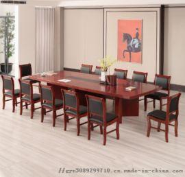 会议桌大型接待台简约现代实木皮办公桌椅条形洽谈桌