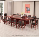 會議桌大型接待臺簡約現代實木皮辦公桌椅條形洽談桌