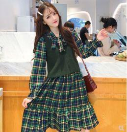 裙子女春秋2020年新款春装日系甜美格子中长款連衣裙温柔风仙女裙