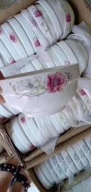 跑江湖摆地摊彩瓷花瓷白瓷餐具2元模式批发