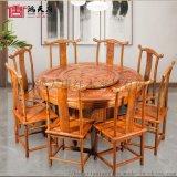 鸿天唐红木家具刺猬紫檀圆餐桌
