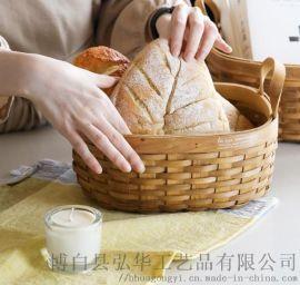 椭圆形手工木片编织野餐收纳篮水果篮花篮面包篮储物篮