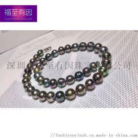 福至有因珠宝|大溪地黑珍珠 超强珠光晕彩美珠层厚