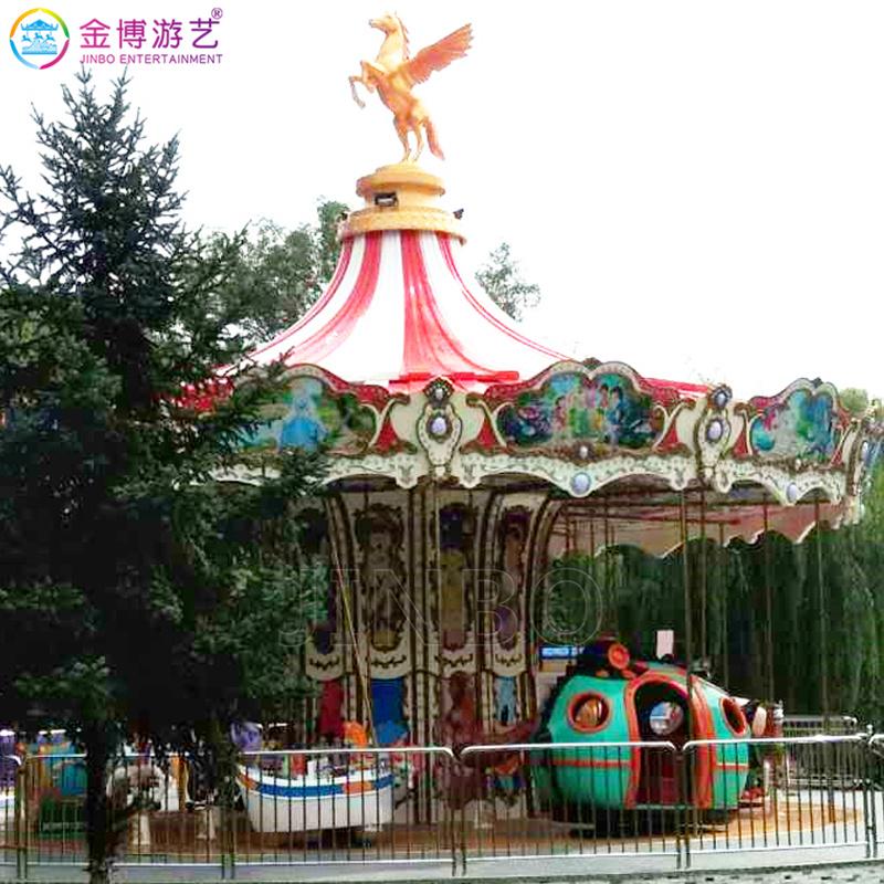 经典的游乐场游乐项目 儿童豪华转马 豪华双层转马