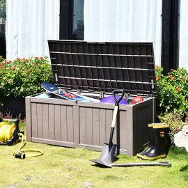 户外 花园庭院木纹储物箱防水防紫外线工具箱