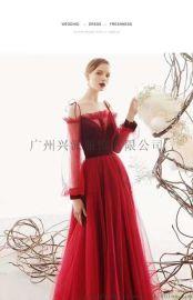 兴派洋定制红色礼服