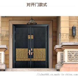 家用防爆铸铝门子母门大门双开门别墅大门庭院门