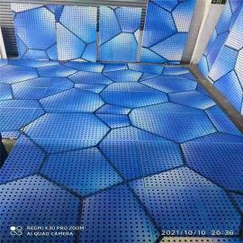 穿孔艺术3d铝板几大优点 造型蓝色穿孔铝板艺术图案