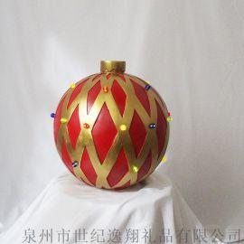 廠家直銷樹脂擺件聖誕裝飾led球