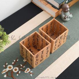 竹木笔筒厂家定做毕业季学生木制文创用品