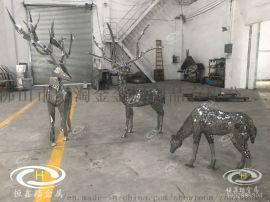 园林景观雕塑几何面不锈钢   和镂空鹿雕塑