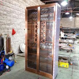 現代簡約不鏽鋼酒櫃 雙開門紅酒櫃定制廠家玫瑰金客廳酒窖櫃