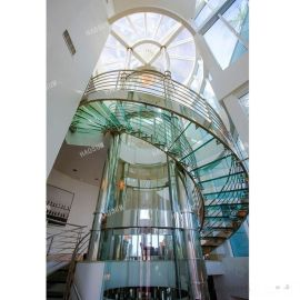 钢化玻璃旋转楼梯 办公楼酒店别墅工程螺旋玻璃楼梯