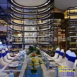 廠家高端定制酒店別墅創意展示架 不鏽鋼恆溫酒櫃 酒店常溫酒架