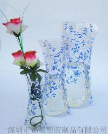深圳生产PVC可折叠花瓶 PVC电压花瓶 摔不碎的花瓶 塑胶花瓶