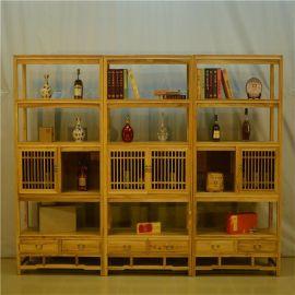 简约现代实木书架置物架 老榆木展示柜博古架 免漆书柜新中式禅意