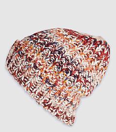 女式欧美多色段染针织翻边冰岛毛帽子