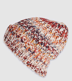 女式歐美多色段染針織翻邊冰島毛帽子