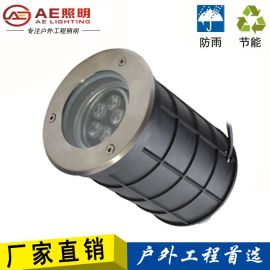 AE照明LED地埋灯可调角度墙角照墙灯户外防水防水射灯不锈钢圆形埋地灯洗墙灯具七彩变色高亮
