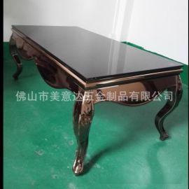 新款不鏽鋼家具時尚美式茶幾 弧形不鏽鋼茶幾造型